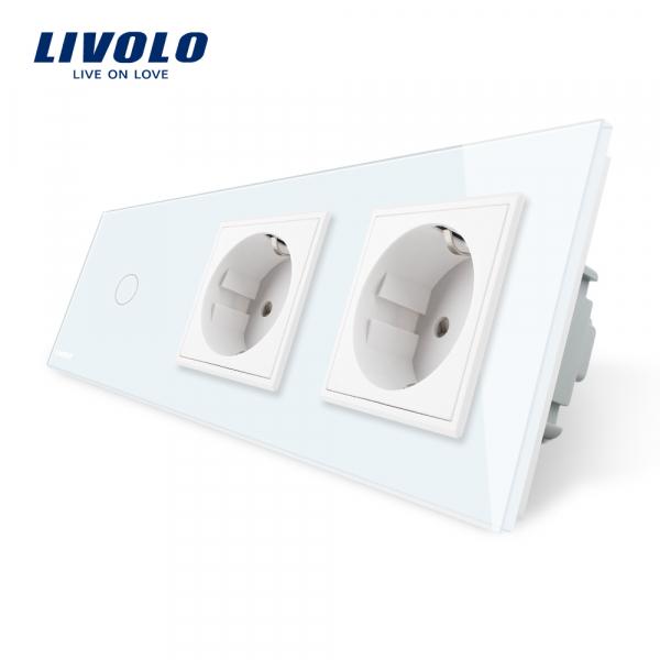Întrerupător touch simplu + Priză dublă Schuko din sticlă Livolo 0