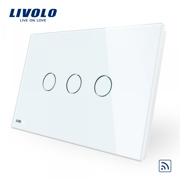 Întrerupător touch triplu RF Livolo Standard Italian 0