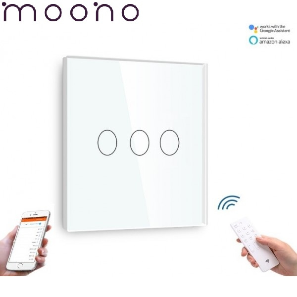 Întrerupător Touch Triplu WIFI+RF Direct - moono 0