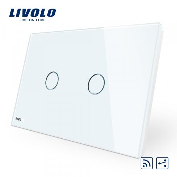 Întrerupător touch dublu RF cap-scară / cruce Livolo Standard Italian 0