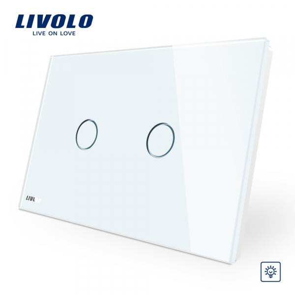 Întrerupător touch dublu cu variator (dimmer) Livolo Standard Italian 0