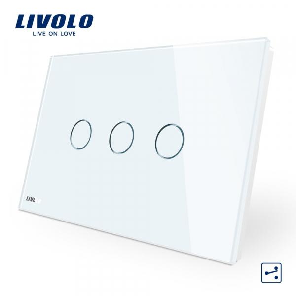 Întrerupător touch triplu cap-scară / cruce Livolo Standard Italian 0