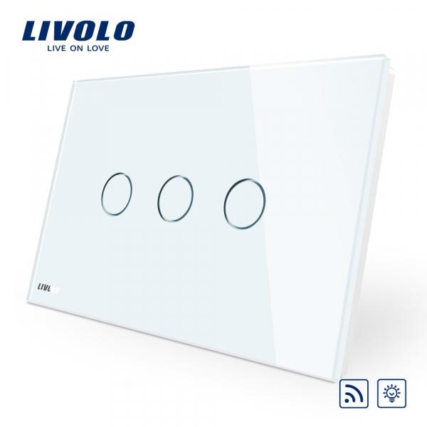 Întrerupător touch triplu RF cu variator (dimmer) Livolo Standard Italian 0