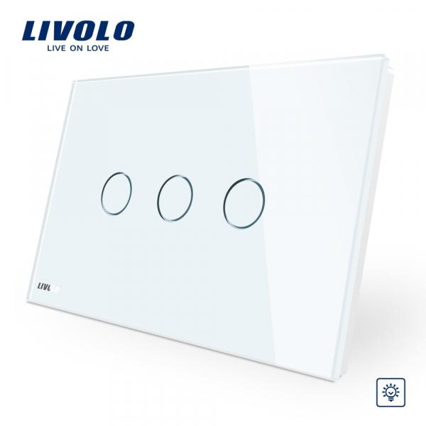 Întrerupător touch triplu cu variator (dimmer) Livolo Standard Italian 0
