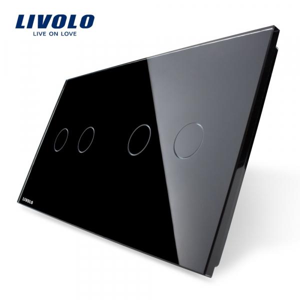 Panou întrerupător dublu+dublu din sticlă Livolo 0