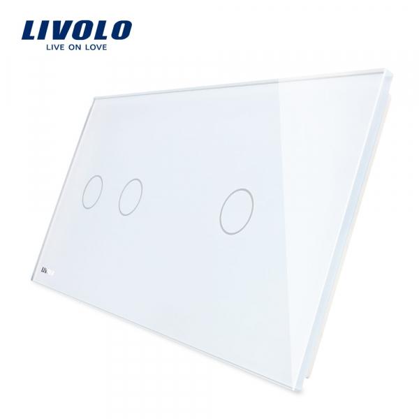 Panou întrerupător dublu+simplu din sticlă Livolo 0