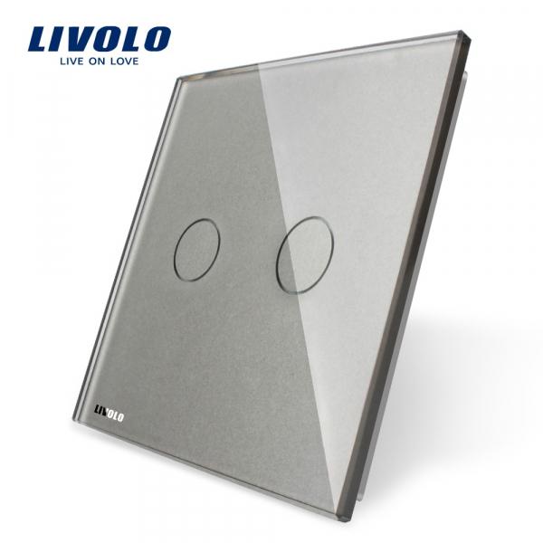 Panou întrerupător dublu din sticlă Livolo 0