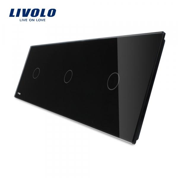 Panou întrerupător 3 x simplu din sticlă Livolo [0]