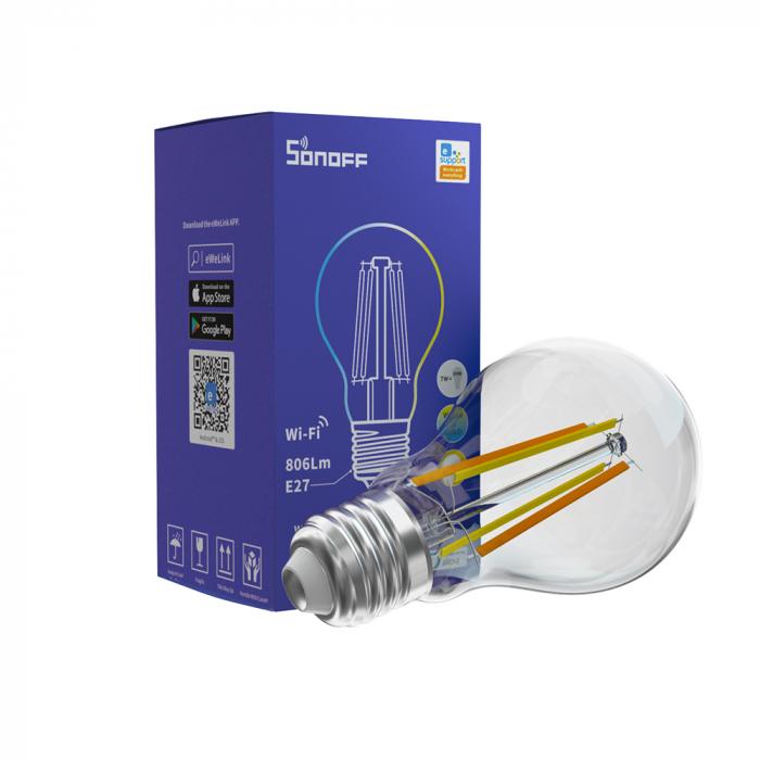 Bec LED CCT smart WiFi cu filament A60 Sonoff [0]