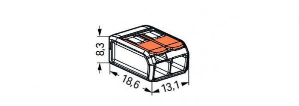 Clemă legături rapide cu manetă, 2 poli, Wago 1