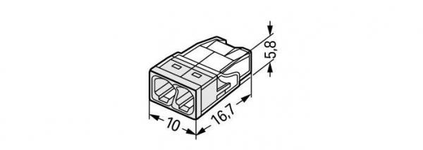 Clemă de doză compactă, 2 poli, Wago 1