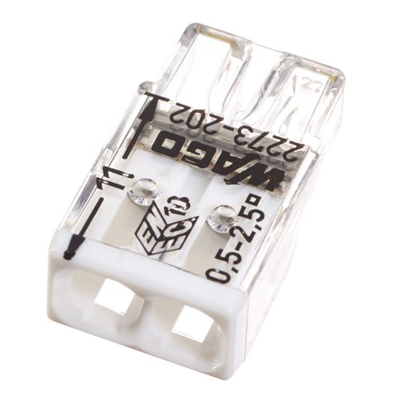 Clemă de doză compactă, 2 poli, Wago 0