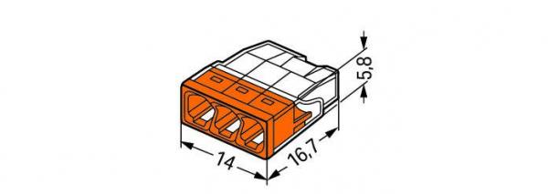 Clemă de doză compactă, 3 poli, Wago 1