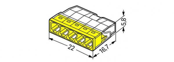 Clemă de doză compactă, 5 poli, Wago 1