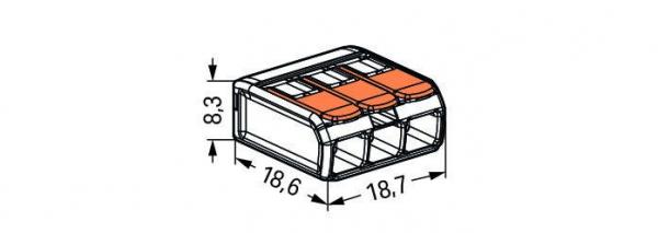 Clemă legături rapide cu manetă, 3 poli, Wago 1