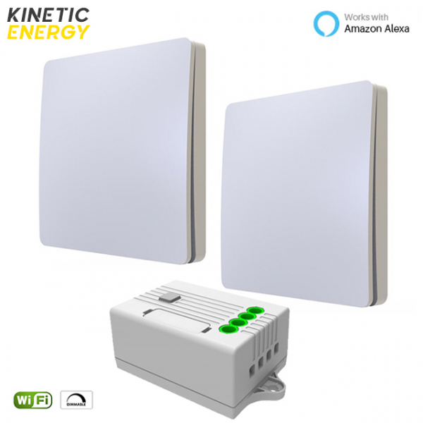 KIT Cap-Scară 2 Întrerupătoare simple Kinetic Energy + Controller 1 canal, 1A, Dimmer WiFi 0