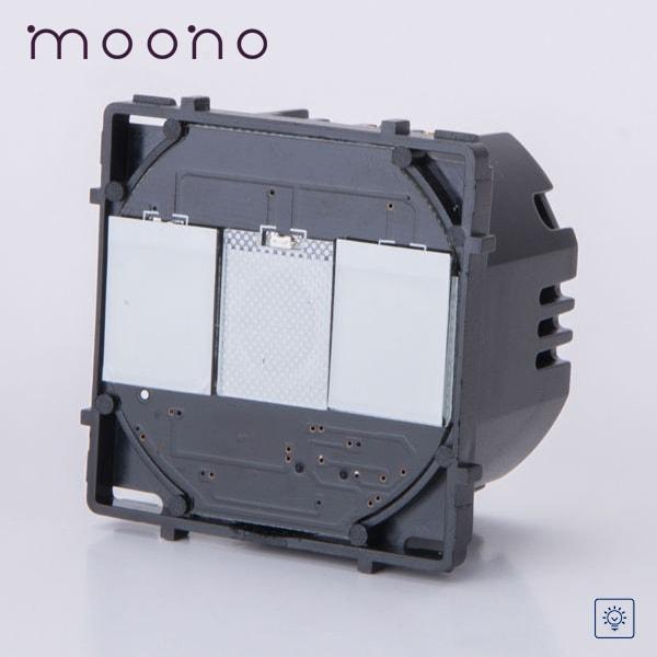 Modul întrerupător touch dublu cu variator (dimmer) moono 0