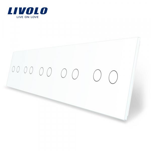 Panou întrerupător 5 x dublu din sticlă Livolo 0