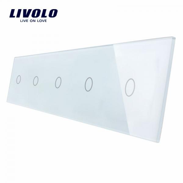 Panou întrerupător 5 x simplu din sticlă Livolo