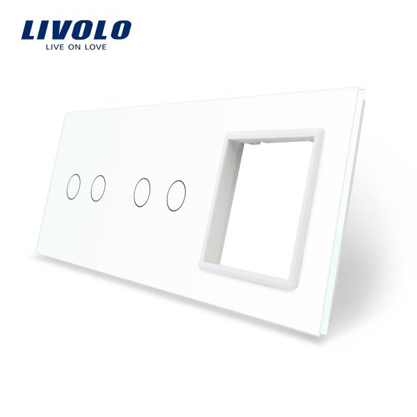 Panou întrerupător dublu+dublu+ramă din sticlă Livolo 0