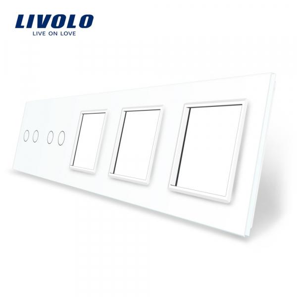 Panou întrerupător dublu+dublu+ramă+ramă+ramă din sticlă Livolo 0