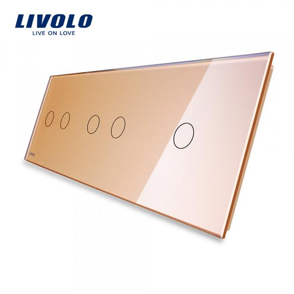 Panou întrerupător dublu+dublu+simplu din sticlă Livolo