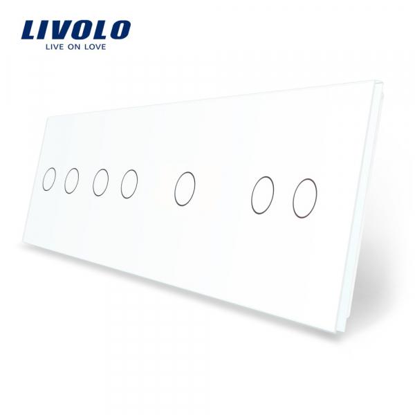 Panou întrerupător dublu+dublu+simplu+dublu din sticlă Livolo 0