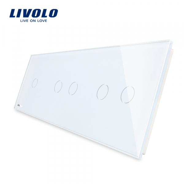 Panou întrerupător simplu+dublu+dublu din sticlă Livolo 0