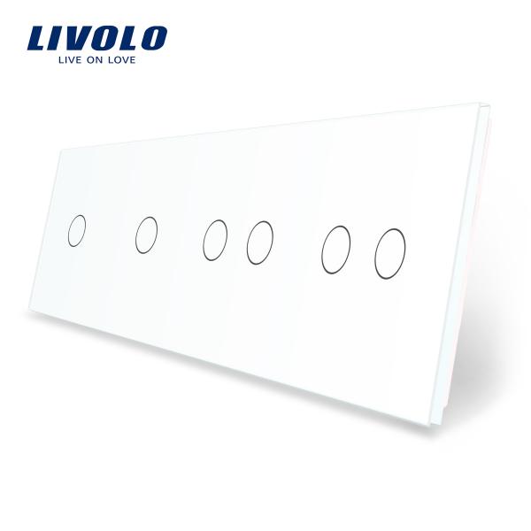Panou întrerupător simplu+simplu+dublu+dublu din sticlă Livolo 0