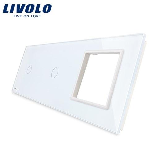 Panou întrerupător simplu+simplu+ramă din sticlă Livolo 0