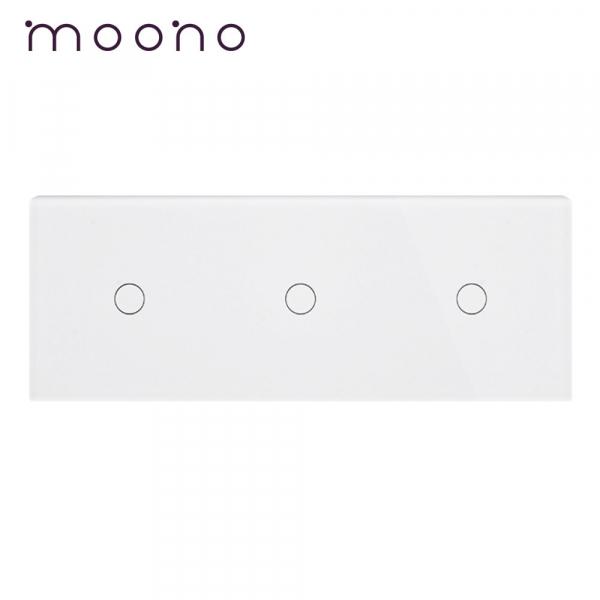 Panou întrerupător 3 x simplu din sticlă M1 moono 0