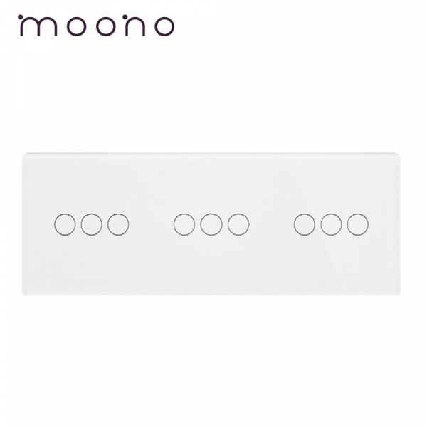 Panou întrerupător 3 x triplu din sticlă M1 moono