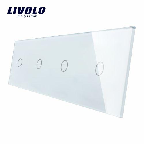 Panou întrerupător 4 x simplu din sticlă Livolo 0