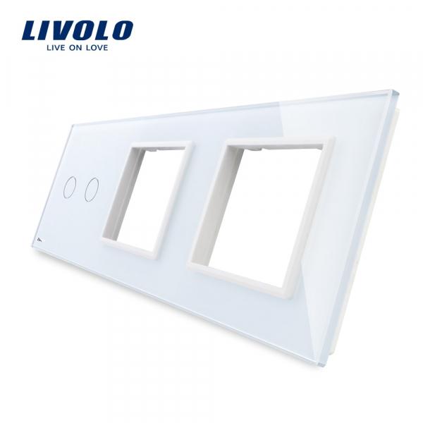 Panou întrerupător dublu+ramă+ramă din sticlă Livolo 0