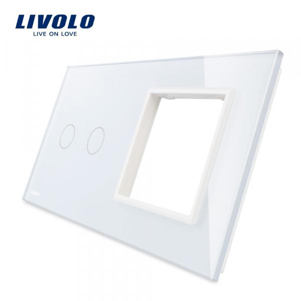 Panou întrerupător dublu+ramă din sticlă Livolo 0