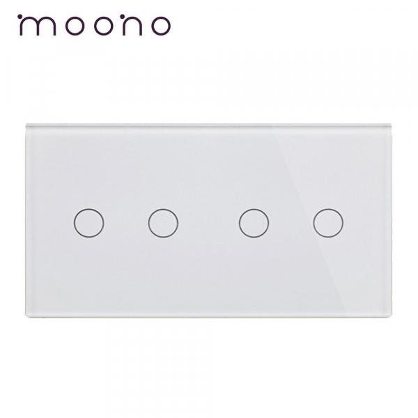 Panou întrerupător dublu+dublu din sticlă M1 moono