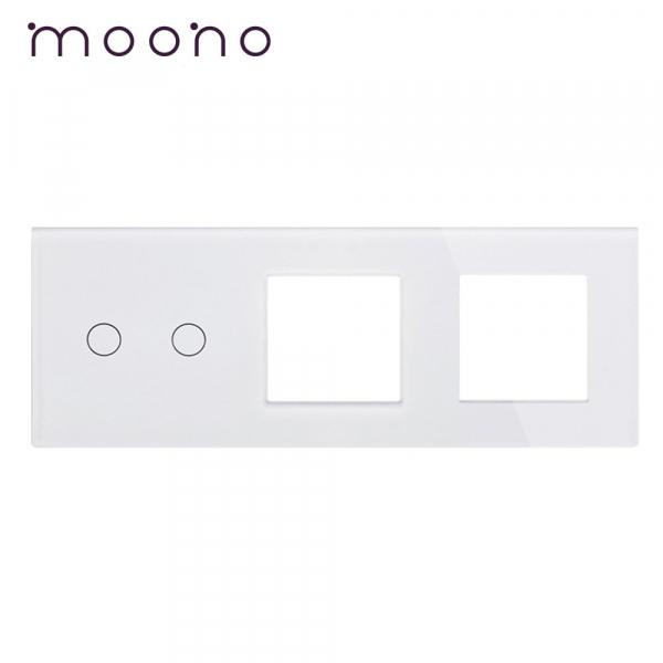 Panou întrerupător dublu+ramă+ramă din sticlă M1 moono 0