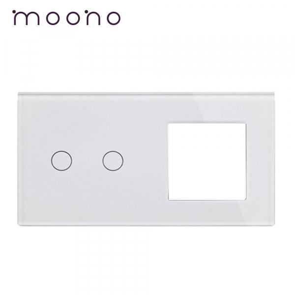 Panou întrerupător dublu+ramă din sticlă M1 moono [0]