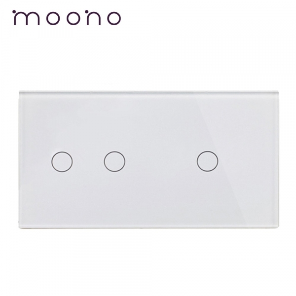 Panou întrerupător dublu+simplu din sticlă M1 moono 0
