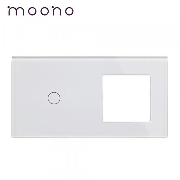 Panou întrerupător simplu+ramă din sticlă M1 moono 0
