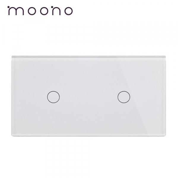 Panou întrerupător simplu+simplu din sticlă M1 moono 0
