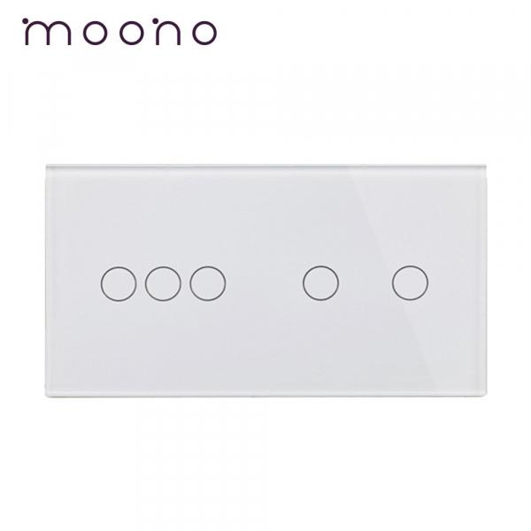 Panou întrerupător triplu+dublu din sticlă M1 moono 0