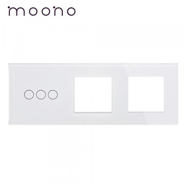 Panou întrerupător triplu+ramă+ramă din sticlă M1 moono 0