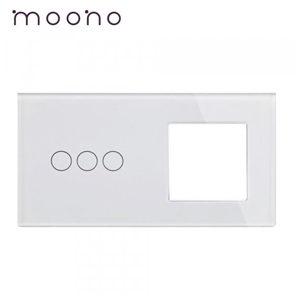 Panou întrerupător triplu+ramă din sticlă M1 moono 0