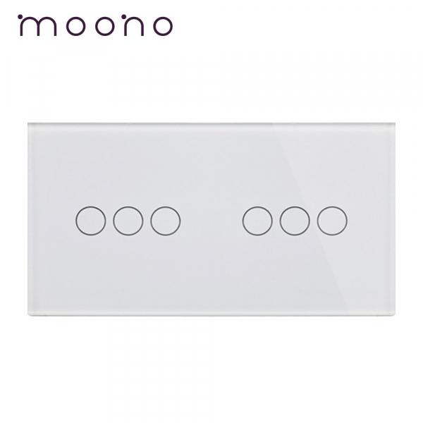 Panou întrerupător triplu+triplu din sticlă M1 moono 0