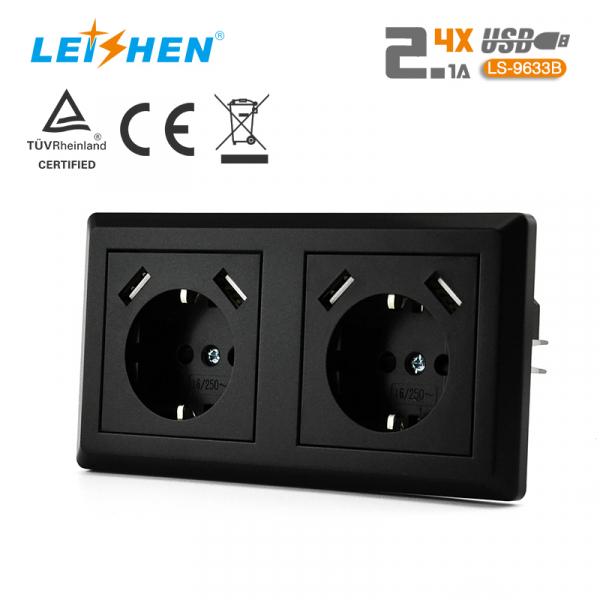 Priză dubla Schuko LEISHEN cu 2 USB