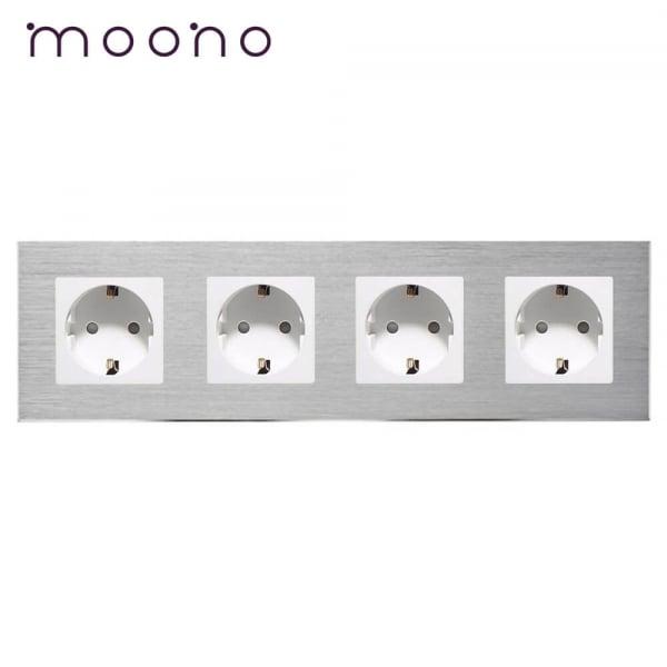 Priză cvadruplă Schuko M2 moono 0