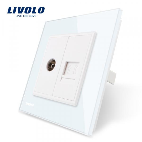 Priză TV + RJ11 Livolo 0