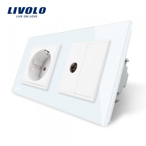 Priză Schuko+TV Livolo