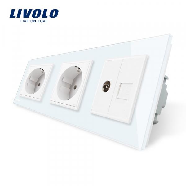 Priză Schuko+Schuko+TV / RJ45 Livolo 0